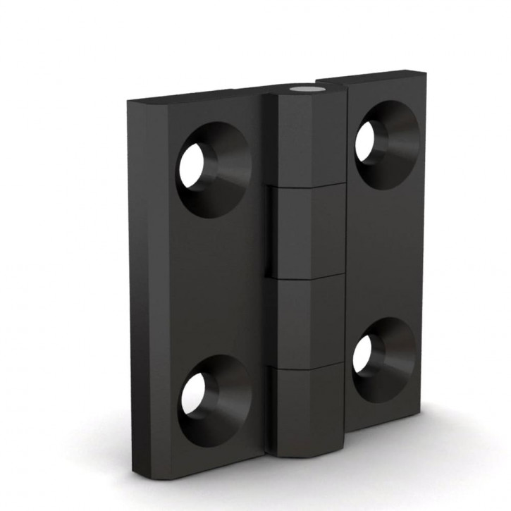 Quadratisches Scharnier, 50x50x6mm, gebohrt; Polyamid schwarz