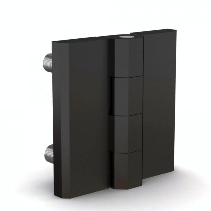 Quadratisches Scharnier, 50x50x6mm, Gewindebolzen; Polyamid schwa