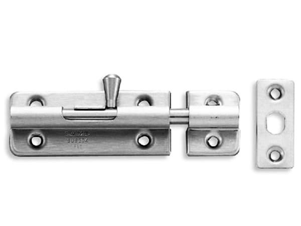 Schubriegel 60mm mit Rückstellfeder und Schliessblech; Edelstahl