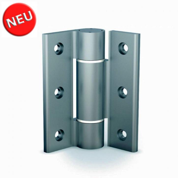Soft-Closing Drehmomentscharnier 100x82.5 mm; Aluminium farblos