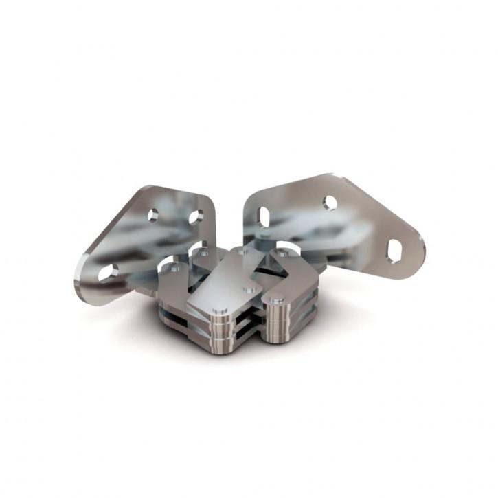 7-Gelenk-Scharnier, unsichtbaren Anschlag, Typ B, 2.0mm; Stahl