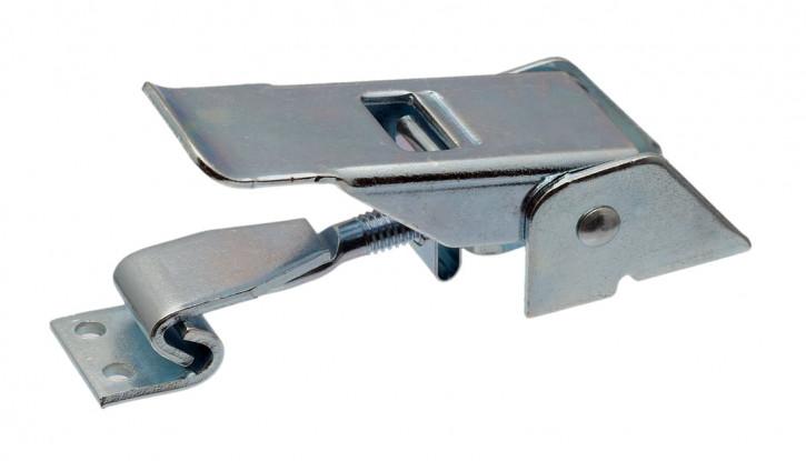 Spannverschluss mit Federsicherung, gebohrt; Stahl verzinkt