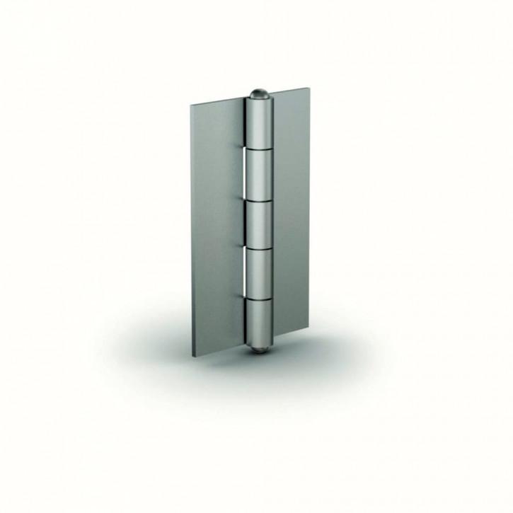 Kleines Scharnier, 50.3x29.8x1mm,gebohrt, mit festem Stift; Stahl