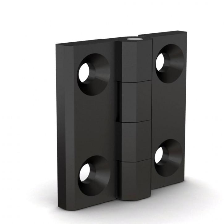 Quadratisches Scharnier, 40x40x5mm, gebohrt; Polyamid schwarz