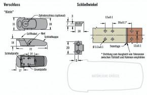 """V7 Spannverschluss """"Klein"""" mit Zylinderschloss; Zinkdruckguss"""