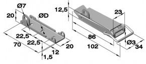 Spannverschluss mit Drahtbügel & Öse; Stahl vernickelt