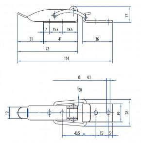Kleiner Spannverschluss mit Drahtbügel, gebohrt; Stahl vernickelt