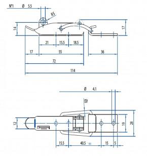 Spannverschluss mit Drahtbügel und Schloss-Öse; Stahl vernickelt