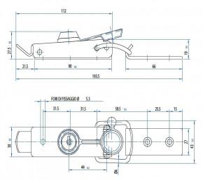 Spannverschluss mit Drahtbügel & Schloss; Stahl verzinkt schwarz