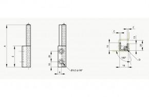 Fitsche mit unsichtbarem Anschlag Öffnungswinkel 100°; Stahl