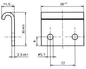 Serie V18L - Gegenhaken kurz, Ø Bohrung 5.1mm; Stahl verzinkt